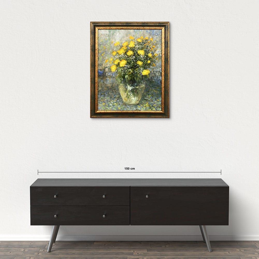 Názov: Žltá kytica / Rozmery: 66x52 cm / Rok: 2018 / Technika: Olejomaľba