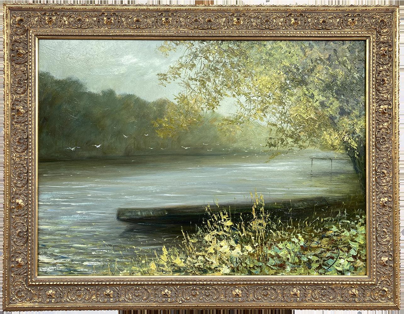 Názov: Loďka na rieke / Rozmery: 65x90 cm / Rok: 2018 / Technika: Olejomaľba