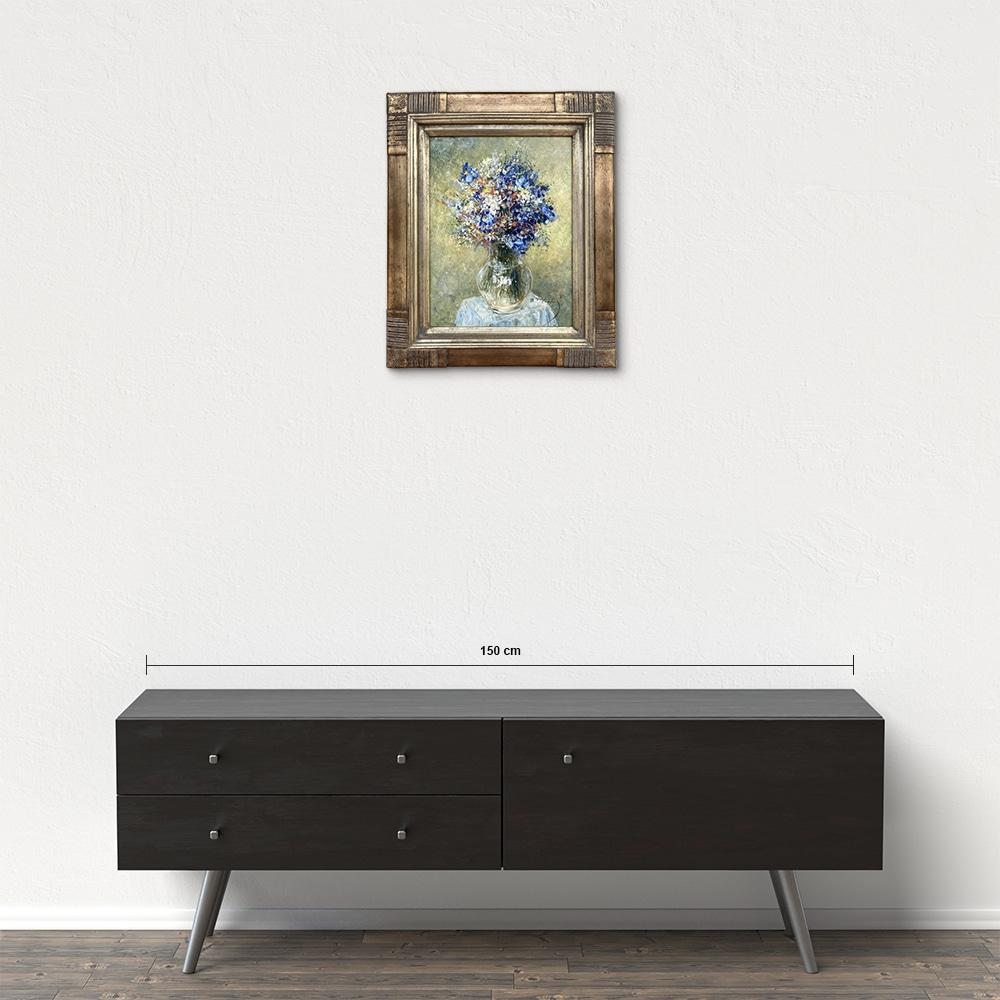 Názov: Modrá kytica / Rozmery: 40x30 cm / Rok: 2018 / Technika: Olejomaľba