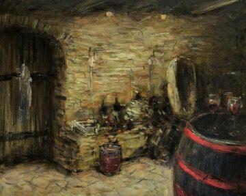 Názov: Vínna pivnica / Rozmery: 50x60 cm / Rok: 2016 / Technika: Olejomaľba