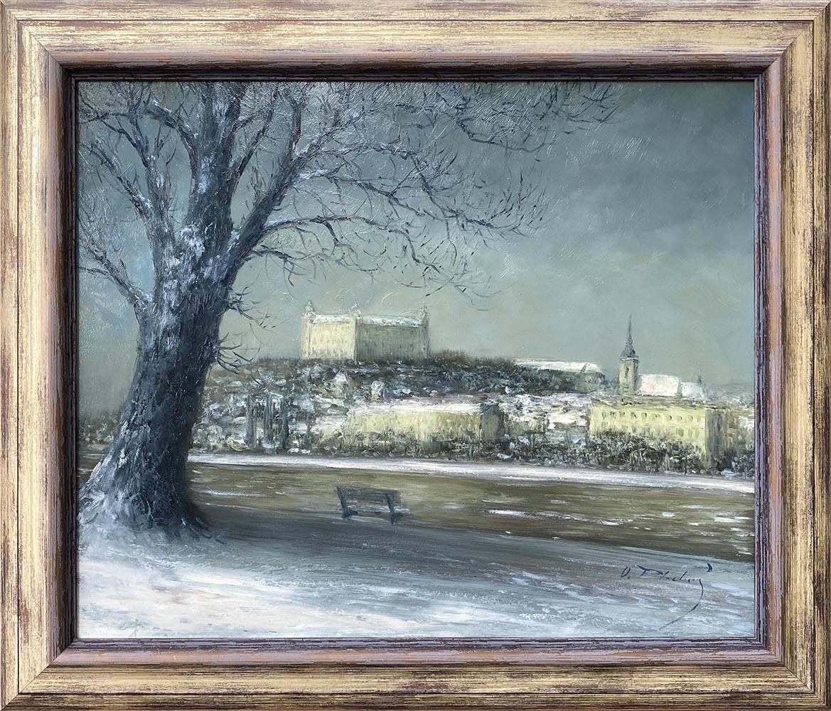 Názov: Zimná Bratislava / Rozmery: 50x60 cm / Rok: 2017 / Technika: Olejomaľba